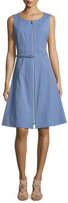 Lafayette 148 New York Coralie Belted Zip-Front Fit-&-Flare Dress $548 thestylecure.com