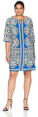Sandra Darren Women's 1 PC Plus Size 3/4 Sleeve Printed ITY Textured Shift Dress