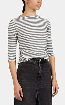 Barneys New York Women's Striped Stretch-Cotton T-Shirt - Gray