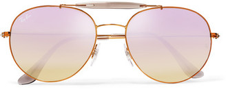 Ray-Ban - Aviator-style Bronze-tone And Acetate Mirrored Sunglasses - Lilac $160 thestylecure.com
