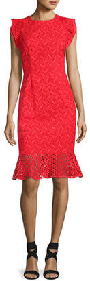 Sachin + Babi Harlow Sleeveless Embroidered Eyelet Cocktail Dress, Red