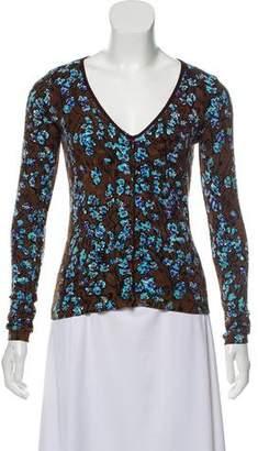 Blumarine Floral Print Button-Up Cardigan