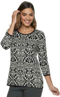 Dana Buchman Petite Scroll Jacquard Crewneck Sweater