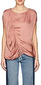 Raquel Allegra Women's Ruched Charmeuse Sleeveless Blouse-Blush