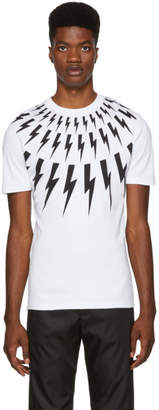 Neil Barrett White Multi Lightning Bolt Logo T-Shirt