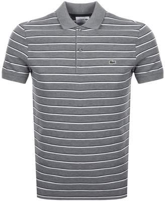 Lacoste Stripe Polo T Shirt Grey