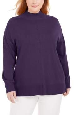 Karen Scott Plus Size Cotton Mock-Neck Sweater, Created for Macy's