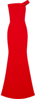 Roland Mouret One-shoulder Wool-crepe Gown - Red