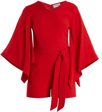 Osman Joanna Tie Waist Crepe Playsuit - Womens - Red