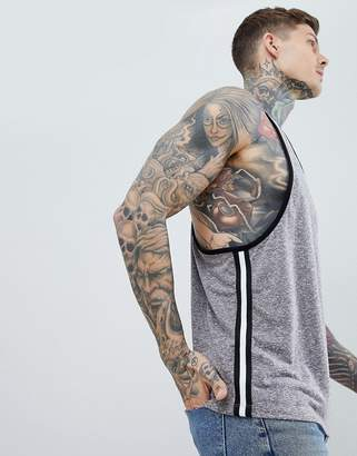 Asos DESIGN extreme racer back tank with contrast side taping in interest nepp fabric