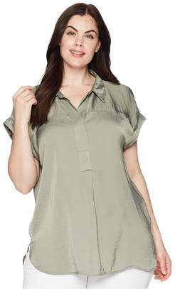 Vince Camuto Specialty Size Plus Size Short Sleeve Collared Henley Rumple Blouse Women's Blouse
