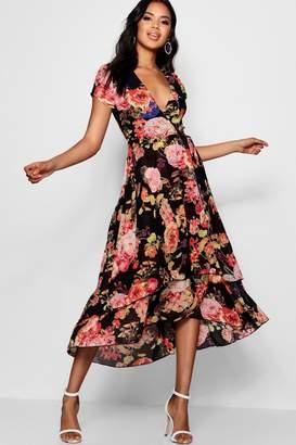 boohoo Mallory Chiffon Ruffle Floral Print Midi Dress