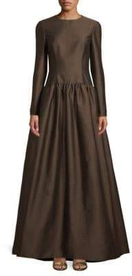 Valentino Long-Sleeve Fit-&-Flare Gown