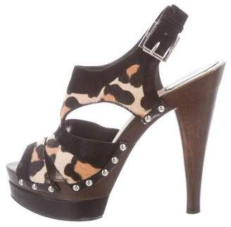 Christian Dior Ponyhair and Suede Sandals