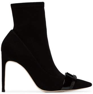 Sophia Webster black Andie 100 bow embellished suede boots