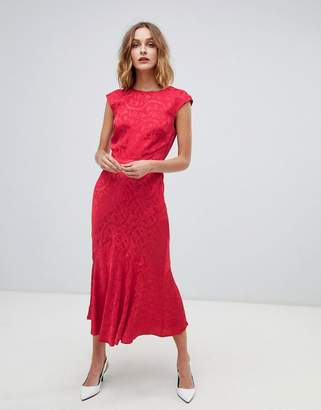 Warehouse jacquard midi dress in blush red