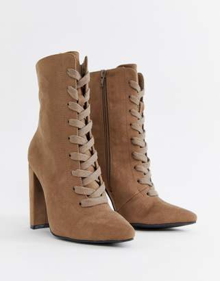 aa4576b3b6 Asos Design DESIGN Elicia lace up heeled boots
