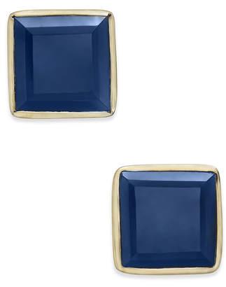 Paul & Pitu Naturally Gold-Tone Square Stone Stud Earrings