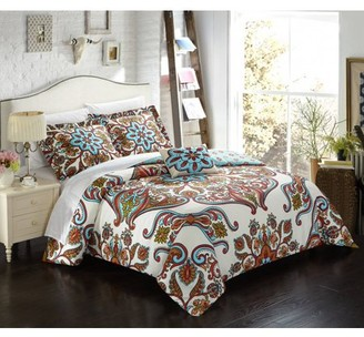 Evans Chic Home 4 Piece Reversible Duvet Cover Set Microfiber Large Scale Paisley Print with Contemporary Geometric Patterned Backing Zipper Closure Bedding with Decorative Shams, Queen Blue