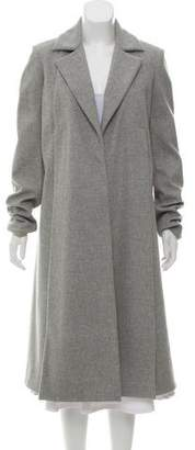 Sally LaPointe Structured Notch-Lapel Long Coat