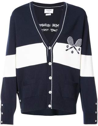 Thom Browne V-neck Cardigan With Striped Tennis Icon In Cashmere