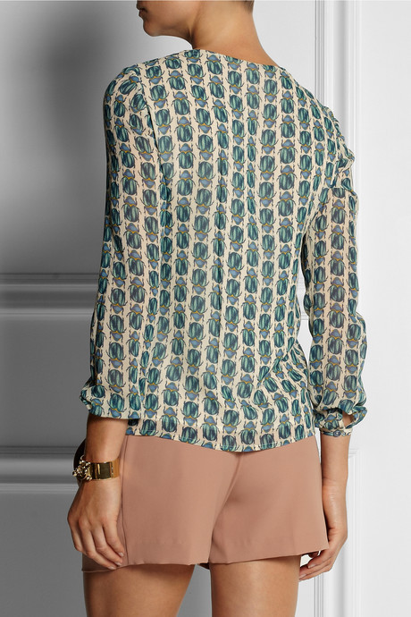 Tory Burch Josephine printed silk-georgette blouse