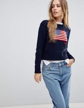 Polo Ralph Lauren Crop Flag Knit Jumper