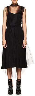 Prada Women's Tulle-Overlay Silk Slipdress - Black