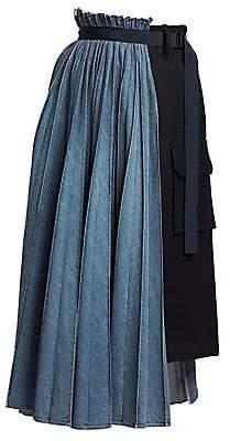 Sacai Women's Half-&-Half Denim Pleated Cargo Skirt