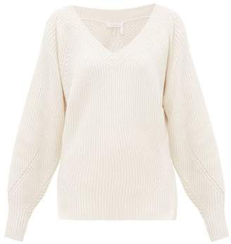See by Chloe V Neck Wool Blend Sweater - Womens - Ivory