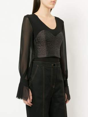 Zambesi sheer sleeve corset bodice top