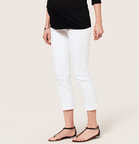 LOFT Petite Maternity Straight Cuffed Cropped Jeans in White with Roll Panel Waist