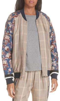 3.1 Phillip Lim Check & Floral Bomber Jacket
