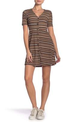 Lush Striped Ribbed Button Front Dress