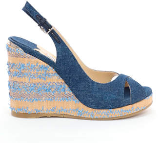 Jimmy Choo AMELY 105 Navy Denim Slingback Wedges with Fringed Raffia