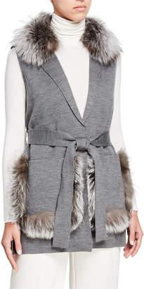 Kobi Halperin Lynn Sweater Vest w\/ Fur Trim