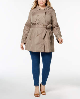 Celebrity Pink Trendy Plus Size Double-Breasted Hooded Trench Coat
