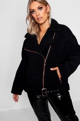 boohoo Plus Teddy Faux Fur Biker Jacket