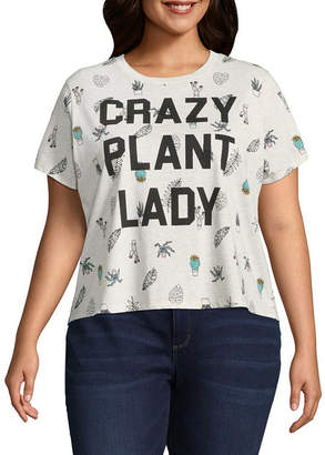 MAD ENGINE Crazy Plant Lady Cropped Tee - Juniors Plu