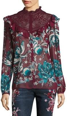 Roberto Cavalli Women's Silk Floral-Lace Blouse