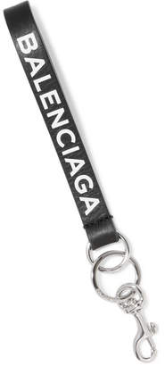 Balenciaga Everyday Printed Leather Keychain - Black