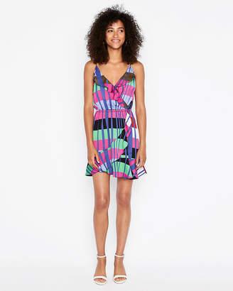 Express Petite Striped Ruffle Wrap Cami Dress