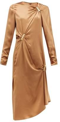 Versace Draped Safety Pinned Satin Midi Dress - Womens - Brown