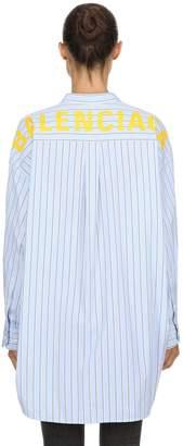 Balenciaga Oversize Logo Print Striped Poplin Shirt