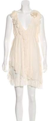 Alice + Olivia Ruffle-Accented Silk Dress