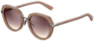 Jimmy Choo Mori Round Studded Sunglasses