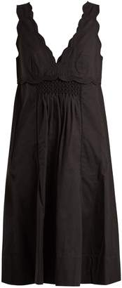Isabel Marant Wilby scalloped-edge smocked-front dress