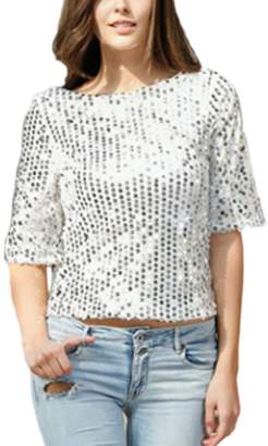 Zamtapary Women Casual Sequins Shiny Pullover Plus Size T-Shirt Tee Top