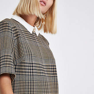River Island Womens Brown check brooch collar shift dress