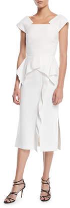 Roland Mouret Square-Neck Sleeveless Peplum-Waist Sheath Daytime Dress